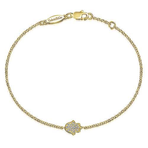 14k Yellow Gold Faith Chain Bracelet angle 1