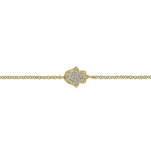 14k Yellow Gold Faith Chain Bracelet angle 2