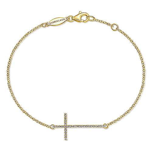 14k Yellow Gold Faith Cross Bracelet angle 1