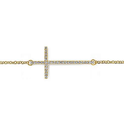 14k Yellow Gold Faith Cross Bracelet angle 2