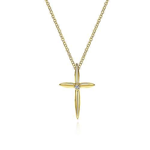 14k Yellow Gold Faith Cross Cross Pendant angle 3