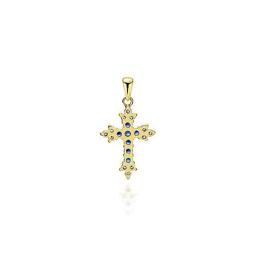 14k Yellow Gold Faith Cross Cross Pendant angle 2