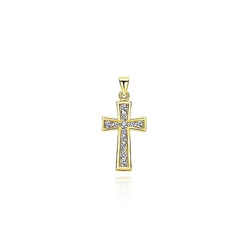 14k Yellow Gold Faith Cross Cross Pendant angle 1