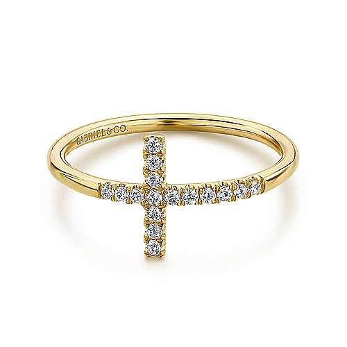 Gabriel - 14k Yellow Gold Faith Cross Ladies' Ring
