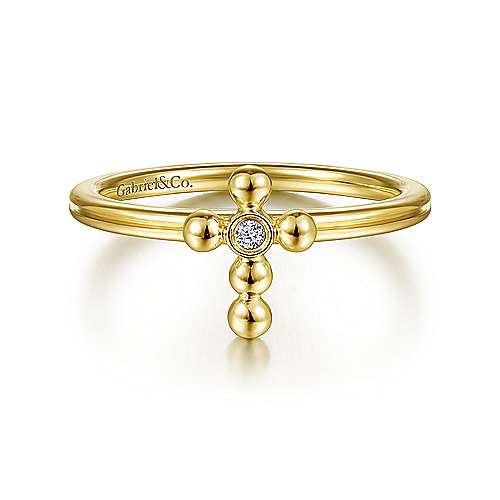 14k Yellow Gold Faith Cross Ladies Ring