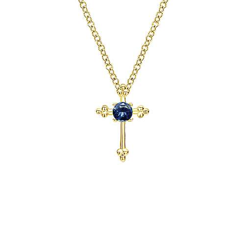 14k Yellow Gold Faith Cross Necklace