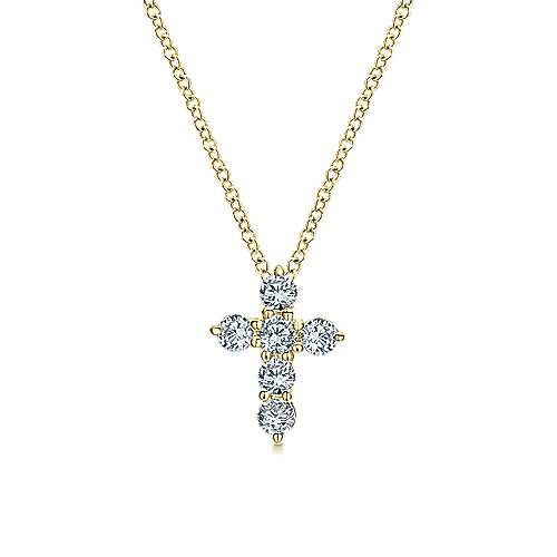 Gabriel - 14k Yellow Gold Faith Cross Necklace