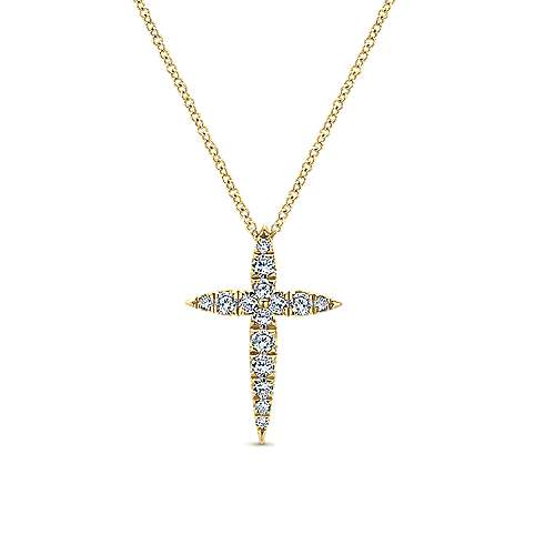 Gabriel - 14k Yellow Gold Faith Cross Necklace