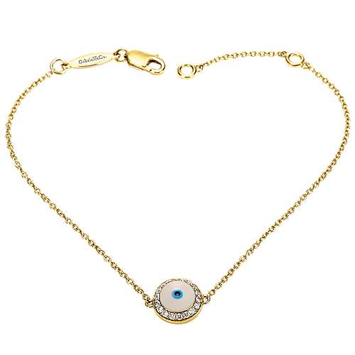 14k Yellow Gold Faith Evil Eye Bracelet angle 1
