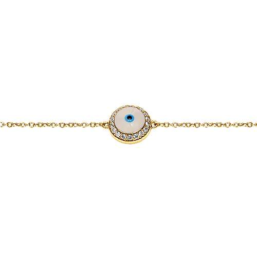 14k Yellow Gold Faith Evil Eye Bracelet angle 2