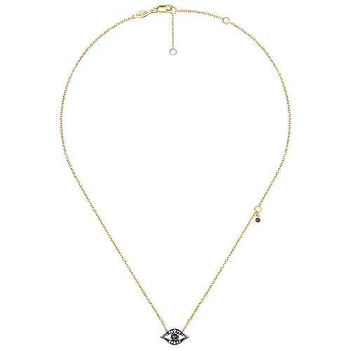 14k Yellow Gold Faith Evil Eye Necklace angle 2