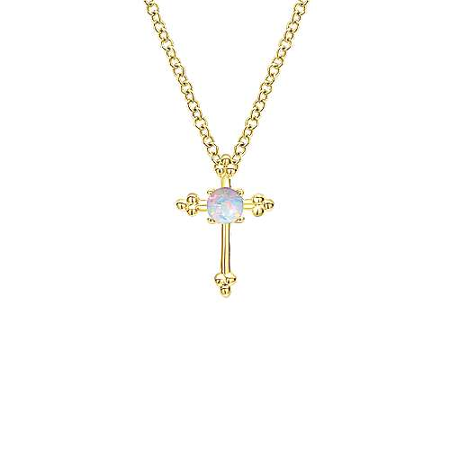 14k Yellow Gold Faith Fashion Necklace angle 1