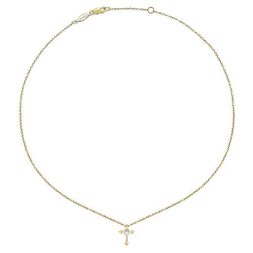 14k Yellow Gold Faith Fashion Necklace angle 2