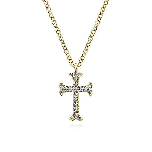 Gabriel - 14k Yellow Gold Faith Fashion Necklace