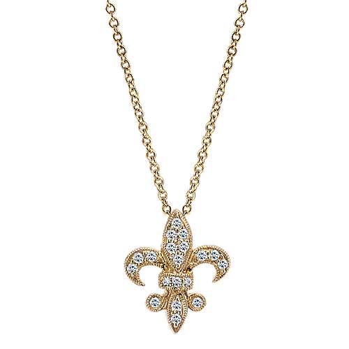 14k Yellow Gold Faith Fleur De Lis Necklace angle 1