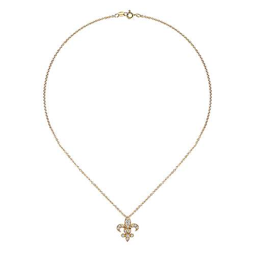 14k Yellow Gold Faith Fleur De Lis Necklace angle 2