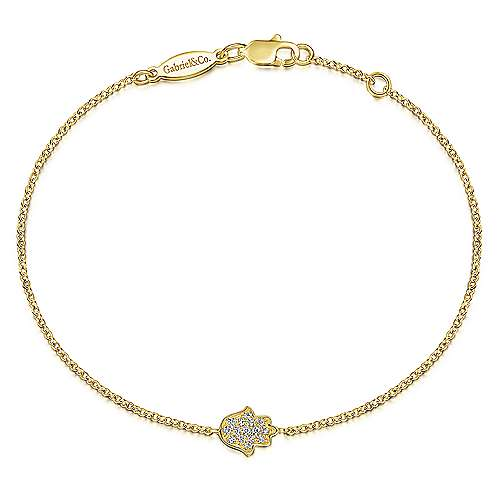 14k Yellow Gold Faith Hamsah Bracelet angle 1