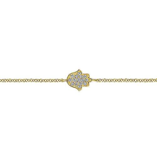 14k Yellow Gold Faith Hamsah Bracelet angle 2