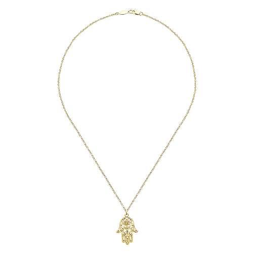 14k Yellow Gold Faith Hamsah Necklace angle 2