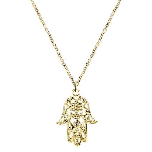 14k Yellow Gold Faith Hand Of God Necklace angle 1