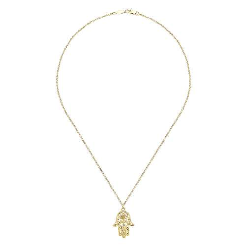 14k Yellow Gold Faith Hand Of God Necklace angle 2