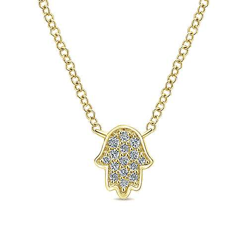 Gabriel - 14k Yellow Gold Faith Hand Of God Necklace