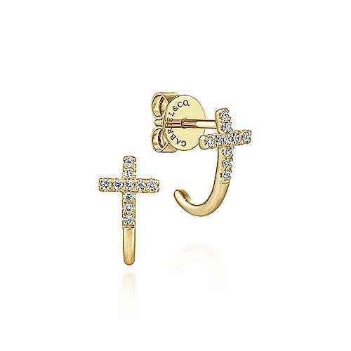 14k Yellow Gold Faith J Curve Earrings angle 1