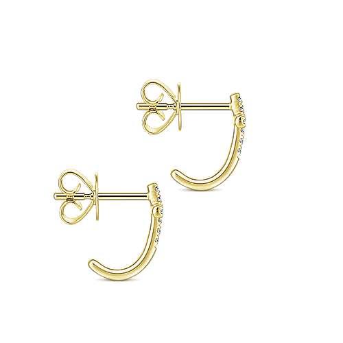 14k Yellow Gold Faith J Curve Earrings angle 3