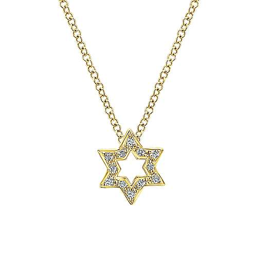 14k Yellow Gold  Star of David