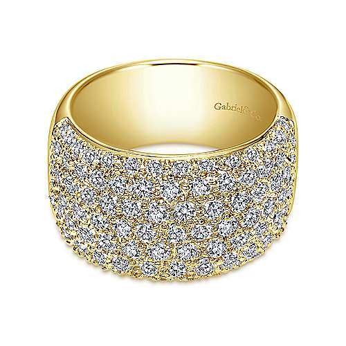 Gabriel - 14k Yellow Gold Fancy Pavé Anniversary Band