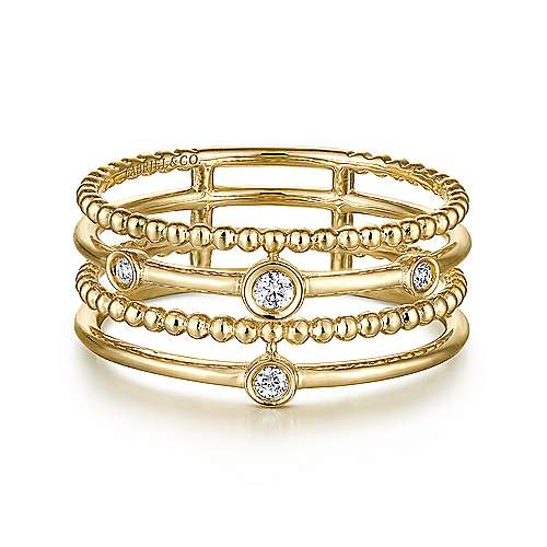 Gabriel - 14k Yellow Gold Fashion Bezel Set Diamond Ladies Ring