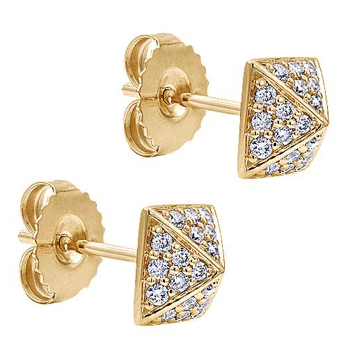 14k Yellow Gold Fierce Stud Earrings