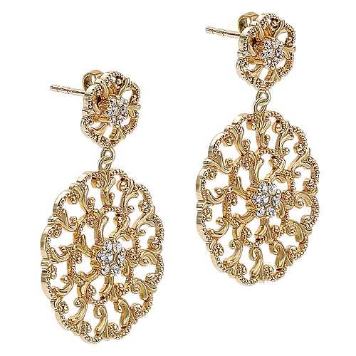 14k Yellow Gold Flirtation Drop Earrings angle 2