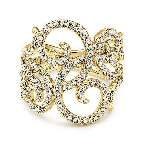 Gabriel - 14k Yellow Gold Flirtation Fashion Ladies' Ring