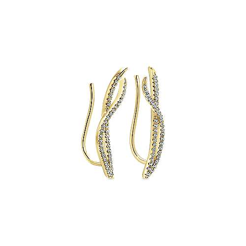 14k Yellow Gold Floral Ear Climber Earrings angle 2