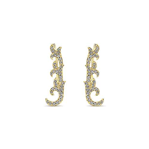 14k Yellow Gold Floral Ear Climber Earrings angle 1