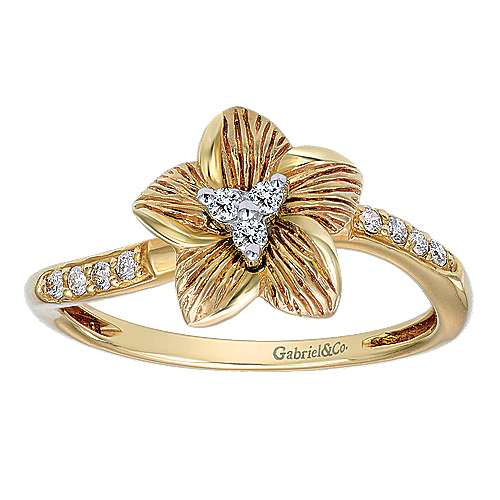 14k Yellow Gold Floral Fashion Ladies' Ring angle 4
