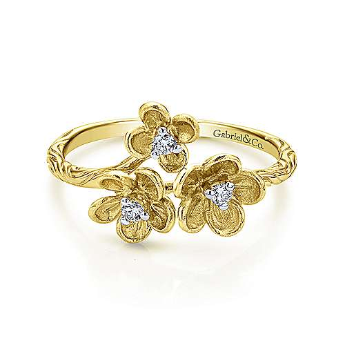 14k Yellow Gold Floral Fashion Ladies' Ring angle 1