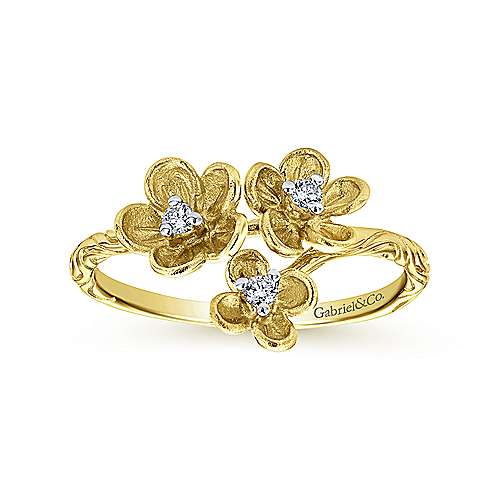 14k Yellow Gold Floral Fashion Ladies