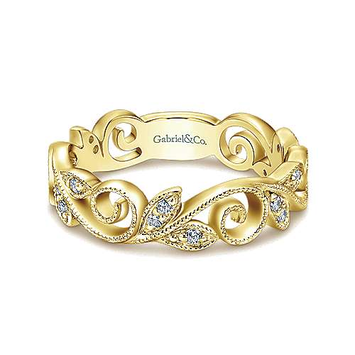 14k Yellow Gold Floral Midi Ladies' Ring angle 1