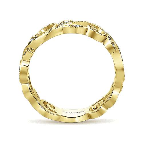14k Yellow Gold Floral Midi Ladies' Ring angle 2