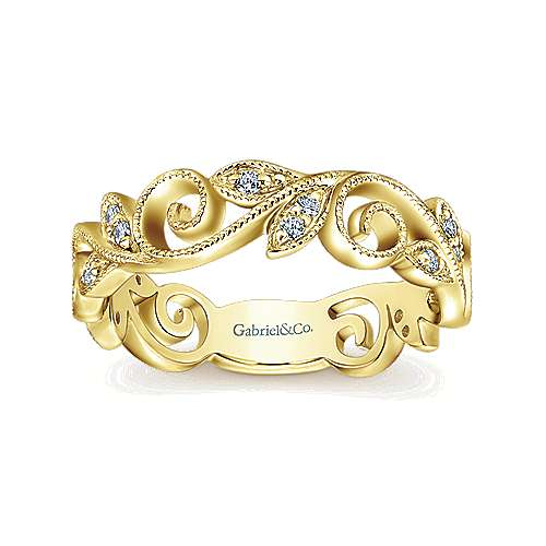 14k Yellow Gold Floral Midi Ladies' Ring angle 4
