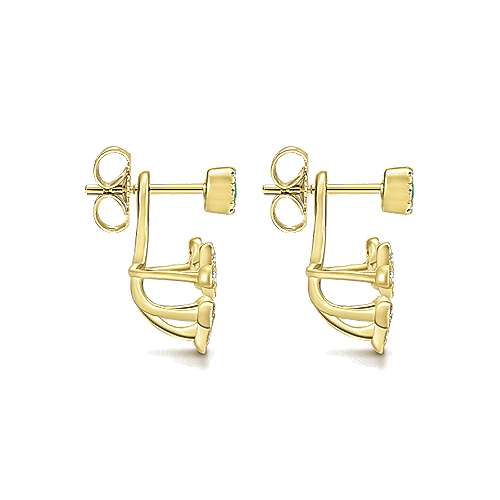 14k Yellow Gold Floral Peek A Boo Earrings angle 3