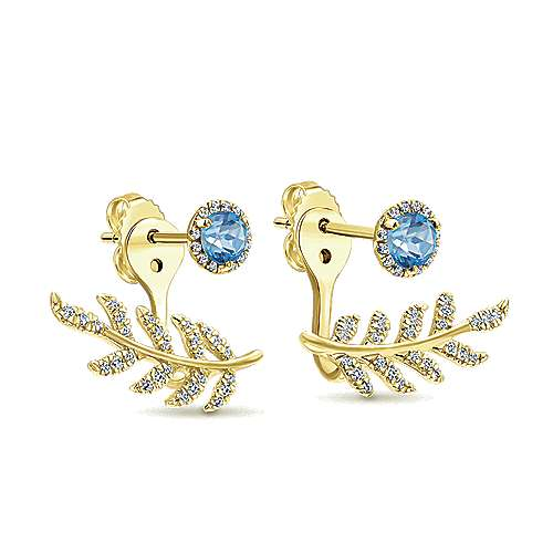 14k Yellow Gold Floral Peek A Boo Earrings angle 2