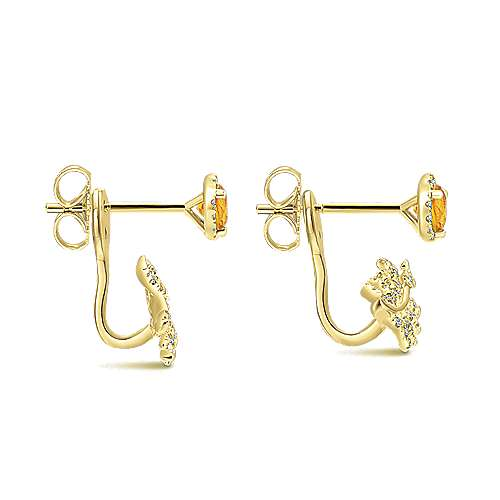 14k Yellow Gold Floral Peek A Boo Earrings angle 3