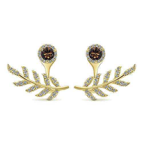 14k Yellow Gold Floral Peek A Boo Earrings