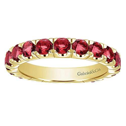 14k Yellow Gold Garnet Stackable Ladies