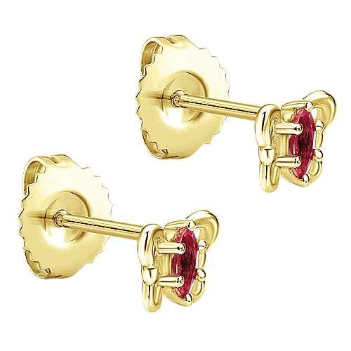14k Yellow Gold Garnet Stud Earrings angle 2