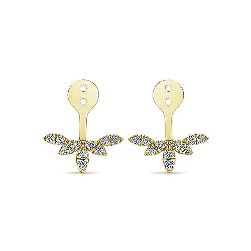 14k Yellow Gold Gemini Earrings Enhancer Earrings angle 1