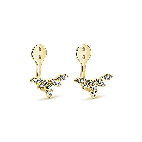 14k Yellow Gold Gemini Earrings Enhancer Earrings angle 2